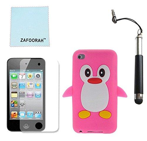 ZAFOORAH Schutzhülle Case aus Silikon Pinguin mit Eingabestift/Displayschutzfolie/Reinigungstuch Mikrofaser für iPod Touch - Case Ipod 4 Grün