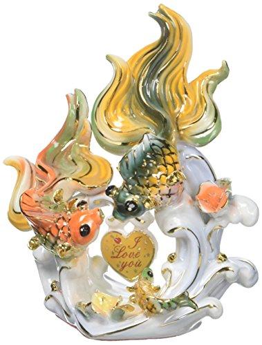 DELICATE Feng Shui Fishes-Handgefertigt und Verziert chinesischem Porzellan, Figur 2105011 Height x Width x Depth: 2.4 x 4.4 x 4.6 inches C - Porzellan Figuren Chinesische