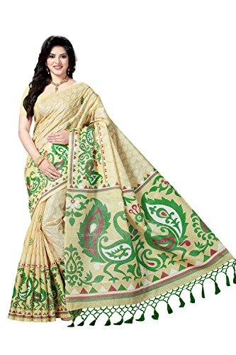 Rani Saahiba Bhagalpuri Art Silk Printed Saree ( SKR3595_Beige - Green )