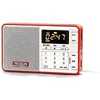 Radar® TECSUN Q3 FM Stereo Radio Recorder/MP3 Player Pocket Size (FM 76-108) (8G TF Card Included) (Red)