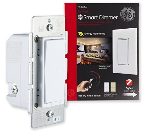GE 45857GE ZigBee In-Wall Smart Dimmer Switch, LED and CFL Compatible, with Energy Monitoring and HA1.2 Certification by GE (Cfl Energy Smart)