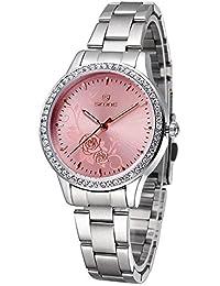 ufengke® peonía tallada rhinestone de línea reloj de pulsera muñeca bisel para las mujeres,rojo