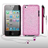 IPOD TOUCH 4 BUTTERFLY DISCO BLING CASE / COVER / SHELL / SKIN / BACK COVER WITH SCREEN PROTECTOR STYLUS & HEADSET BY CELLAPOD CASES