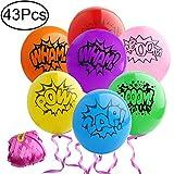 Standie 43 Stück Bedruckte Latex Ballons Set Für Superhelden Collection-42 Stück Bedruckte Latex Ballons Mit 1 Stück Ribbon