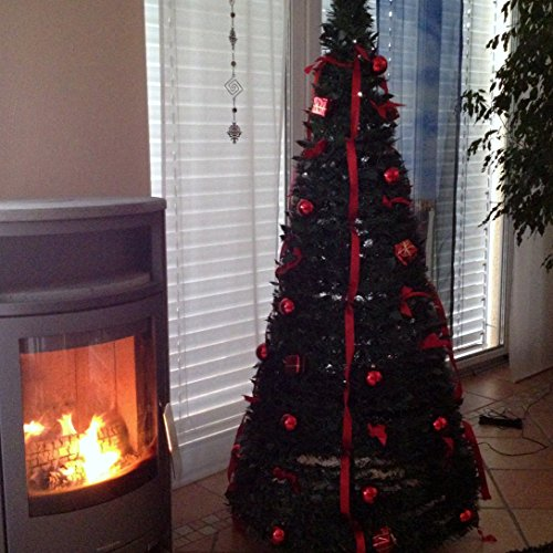 fdl 6ft green with red pop up pre lit instant christmas tree - Pop Up Decorated Christmas Tree
