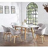 Pharao24 Skandinavische Esszimmergruppe in hell Grau und Weiß ausziehbarem Tisch