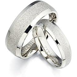 GEMINI Alliances jeunes mariés, Alliances Assorties, Ensemble d'Alliances en titane et or blanc, Cadeaux de St Valentin Taille 46 à 78