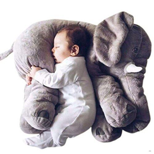 Minetom bambini neonati cuscino sacco a pelo cute elefante peluche pillow cuscini comfort morbido giocattolo regali per bambini grigio bigsize(60cm)