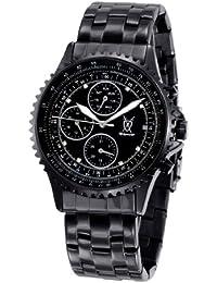 Konigswerk para Hombre Negro Reloj de la pulsera dial grande de cristal acento Día Fecha de Múltiples funciones SQ201415G