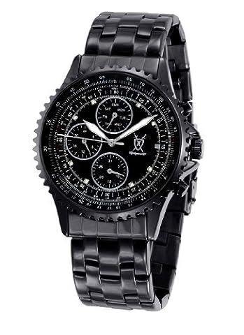 Königswerk Herren-Schwarz-Armband-Uhr Große Dial Kristall Accent Multifunktions Tag Datum SQ201415G