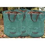 3pieza Jardín Saco de césped verde tipo bolsa de basura bolsas de basura de jardín 270L redondo para follaje