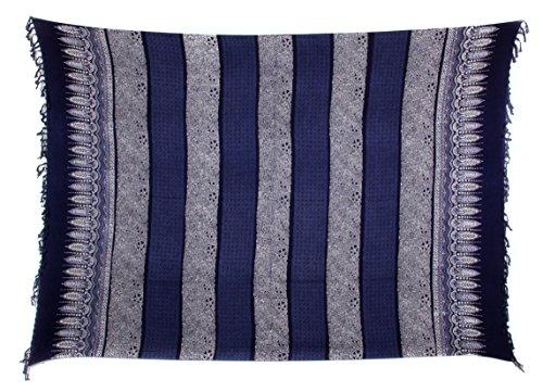 Batik Wickelrock (Sarong Pareo Wickelrock Strandtuch Alte Batik Blickdicht Blau Wickelkleid Ca 170cm x 110cm)