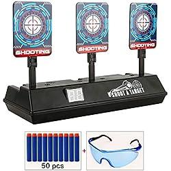COSORO Cible pour Nerf,Cible de tir électrique à réinitialisation Automatique (avec 50 fléchettes en Mousse de 7,2 cm + 1 Lunettes de sécurité) pour Pistolets Nerf série N-Strike Elite/Mega/ Rival