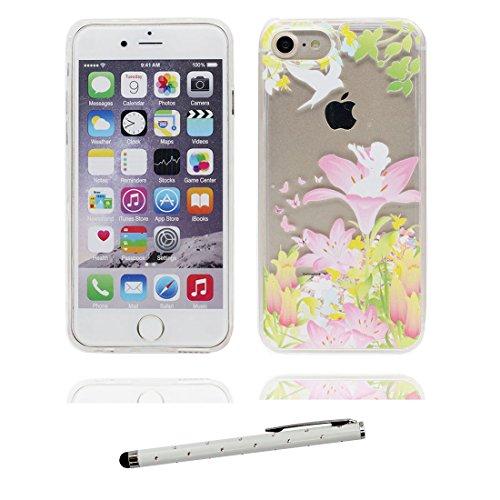 """iPhone 6S Plus Coque, Skin étui iPhone 6 Plus / 6S Plus, Multiflora Rose Design Glitter Bling Sparkles Shinny Flowing iPhone 6 Plus Case 5.5"""", iPhone 6S Plus Cover 5.5"""" résistant aux chocs et stylet Lis Lily"""