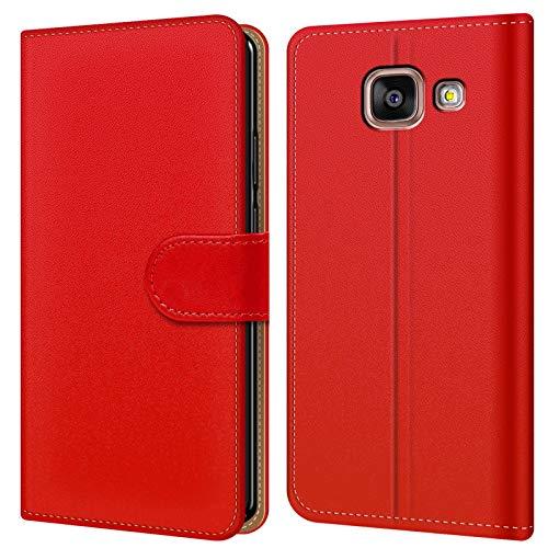 Conie BW28566 Basic Wallet Kompatibel mit Samsung Galaxy A5 2016, Booklet PU Leder Hülle Tasche mit Kartenfächer und Aufstellfunktion für Galaxy A5 2016 Case Rot