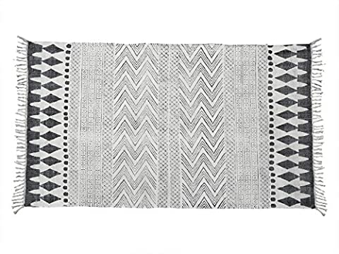 Store Indya Soft Cotton Large Floor Rug Carpet with Tassel Floral Block Print 60 x 36 Inches Traditional Design Home Living Room Bedroom Rugs Decor