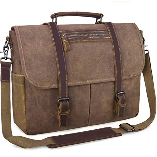 Mens Large Laptop Messenger Bag, Waterproof Leather / Canvas Shoulder Bag, Brown