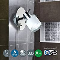 Lámpara LED de pared para baño I Protección contra el agua I Foco LED con bombilla GU10 I Color de la luz blanco cálido I Cromado con vidrio satinado I Interruptor de cordón I 230 V I IP44 I 1 x 5 W