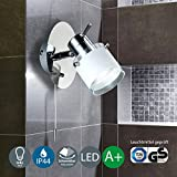 Làmpara LED de pared para banos - Aplique de bano - color cromado - blanco - ajustable -protecciòn de agua IP 44 - interruptor de cordon - Focos GU10 de 5W de potencia y 400 lùmenes -color de la luz blanca -càlida