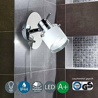 B k licht applique murale led sp cial salle de bain ip44 - Spot salle de bain avec interrupteur ...