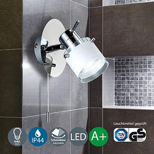 Modern LED Wall light | Bathroom wall fitting | Adjustable spotlight | Beauty light | Pull switch operated | 5 Watt | 400 Lumen | 3000 Kelvin | Warm white light colour | IP 44 rated