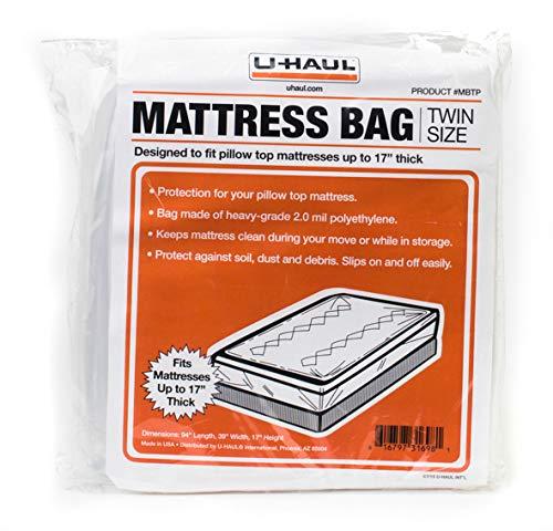 Top-twin-matratze (U-Haul Matratzen-Tasche für Matratzen bis 43,2 cm Twin Pillow Top farblos)