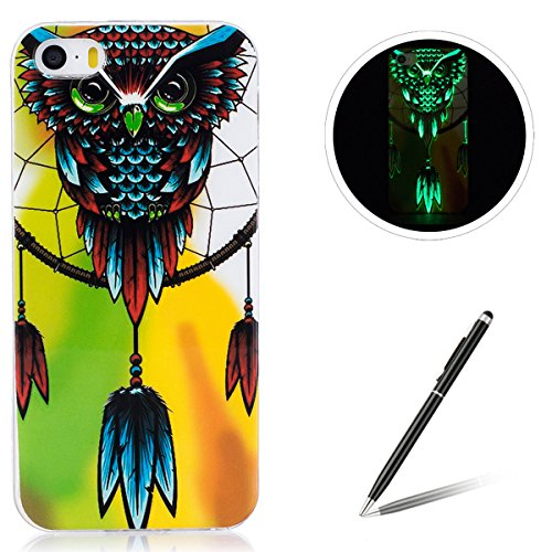iPhone 5/5S/SE Silicone Case,iPhone 5/5S/SE Gel Case,Feeltech [Free 2 in 1 Black Stylus Pen] Luminous Effect Noctilucent Green Glow in the Dark Matte White Ultra Slim Soft Rubber Shock Absorber Flexib Owl Dream Catcher