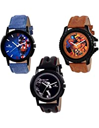 Armado AR-192056 Combo Of Three (Formal+Casual+Party Wear) Maiden Analog Watch - For Men