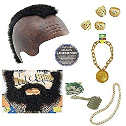 Sofias Closet Fancy Dress Mens Gold Bling Mr T BA Baracus Mohawk Beard Ring Chain 80's A Team