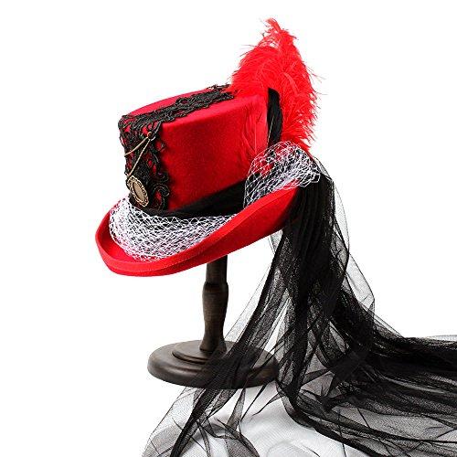 Fucaiqian Hut mit Feder-Schwarz-weißem Gaze-Feiertags-gotischem viktorianischem Raben-schwarzem u. Rotem Hochzeits-Hut (Color : 1, Size : 55CM)