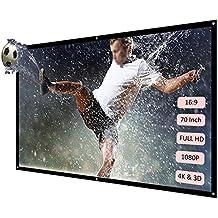 Docooler H70 70 pantalla de proyección portátil HD 16: 9 Blanco 70 pulgadas pantalla para