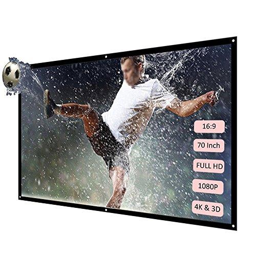Docooler H70 70 '' tragbarer Projektor leinwand HD 16: 9 Weiß 70-Zoll-Diagonale Projektions-Bildschirm faltbares Heimkino für Wand-Projektion zuhause draußen