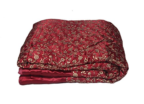 Shopbite Double Bed Size Maroon Jaipuri Silk AC Quilt Razai with Gold Print