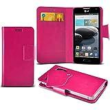 (Hot Pink) LG Optimus F6 Caso fino estupendo Faux Leather succión Pad Monedero piel de la cubierta con el crédito / débito ranuras para tarjetasBy ONX3