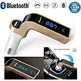NALMAK CARG7 Bluetooth FM Transmitter Universal Wireless In-Car FM Adapter Car Kit With Hand Free Call/Stereo Music Player Supported/TF Card U-Disk Reading/USB Car Charge For All Andriod Mobiles & IOS Devices With 10cm Micro USB Sync And Charge Cable