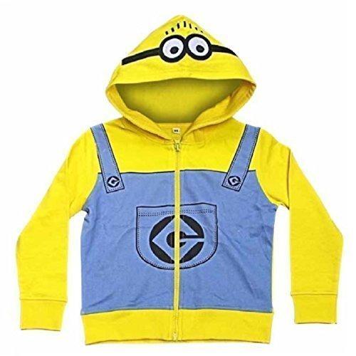 Cattivissimo Me Minions giallo con cappuccio per bambini felpa zip Cappotto Giacca Maglione Felpa con cappuccio Top con Cappuccio, Yellow, 6-7 anni