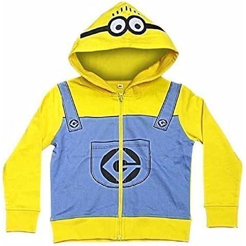 Cattivissimo Me Minions giallo con cappuccio per bambini felpa zip Cappotto Giacca Maglione Felpa con cappuccio Top con Cappuccio, Yellow, 4-5 anni