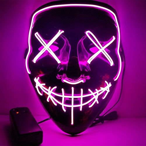 EL Wire Drahtmaske Leuchten Maske LED Leucht Leuchtmaske Make Up Partymaske mit Batterie Box Kostüme Mask Weihnachten Tanzen Party Nacht Pub Bar Klub