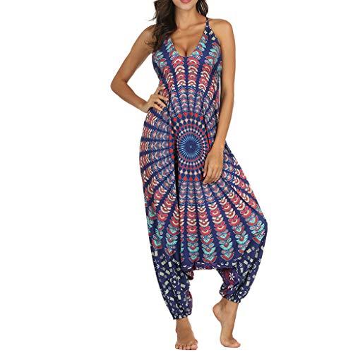 HCFKJ Monos Mujer Verano Las Mujeres con Cuello En V Mono Suelto Playsuit Gimnasio Yoga Gypsy Jogging Harem Pantalones Baggy Palazzo Pantalones