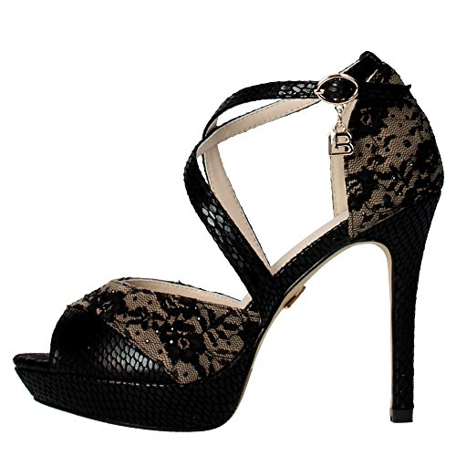 LAURA BIAGIOTTI 938 nero pizzo scarpe donna sandali tacco alto plateaux 38