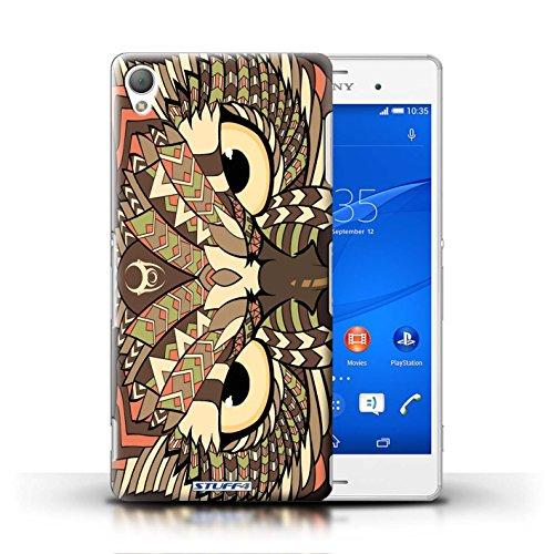 Coque en plastique pour Sony Xperia Z3 Collection Motif Animaux Aztec - Loup-Sépia Hibou-Sépia