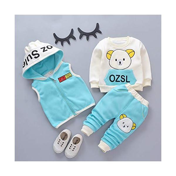 Unique Life - Abrigo de Cintura cálido para bebés y niñas con diseño de otoño + Sudadera + Pantalones, 3 Piezas, Traje… 4