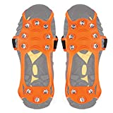 Wirezoll Pair of 10 Stud Skid Ice Crampons Unisex Over Shoe/Boot Traction Cleat Rubber Spikes Anti-Slip Stretch Footwear For Outdoor Ski Ice Snow Hiking Climbing (Orange, XL)