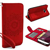 URCOVER® Mandala Pattern Case Wallet | Samsung Galaxy S7 | Flip Cover Simil cuir in Rouge | Peau Coque Portefeuille Clapet Stand Rabat Élegant Étui Protection Portable