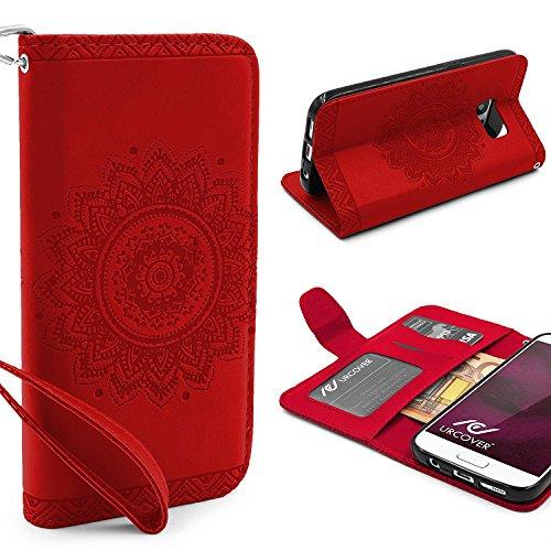 URCOVER® Mandala Pattern Case Wallet | Samsung Galaxy S7 | Flip Cover Simil cuir in Rouge | Peau Coque Portefeuille Clapet Stand Rabat Élegant Étui Protection Portable