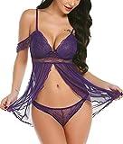 ADOME Spitze Negligee Reizvolle Babydoll für Damen Kalte Schulter Reizwäsche V-Ausschnitt Dessous Set Lingerie Nachtwäsche mit Panty Large Violett
