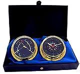 MASTER-MARINER usa blu Mariner Collection, nautica Cabin set regalo, 14,6cm diametro orologio e comfort Meter strumenti, finiture dorate, quadrante blu bandiera di segnalazione