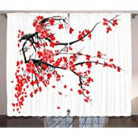 ERCGY Floral Curtains, Japanese Cherry Blossom Sakura Blooms Branch Spring Inspirations Print, Living Room Bedroom Window Drapes 2 Panel Set, 120 inch X 66 inch, Vermilion White