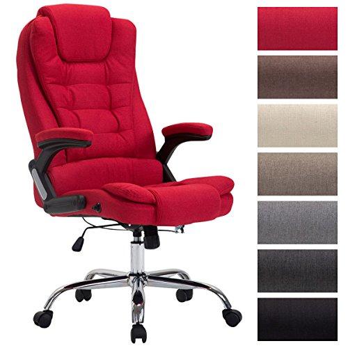 CLP XXL Chefsessel Thor mit Stoffbezug, max. belastbar bis 150 kg, Bürostuhl mit Armlehnen, höhenverstellbar, Drehstuhl mit dickem Polster Rot