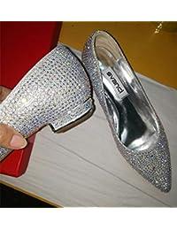 SFSYDDY Zapatos de tacón bajo para boda taladro de agua plata cabeza afilada talón medio novia zapato único cristal...